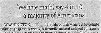 'We hate math', say 4 in 10 - a majority of Americans